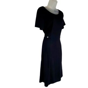 Coldwater Creek Black Tie Waist Knit Dress Petite